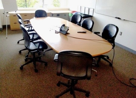 6' - Racetrack Conference Table with light wood finish