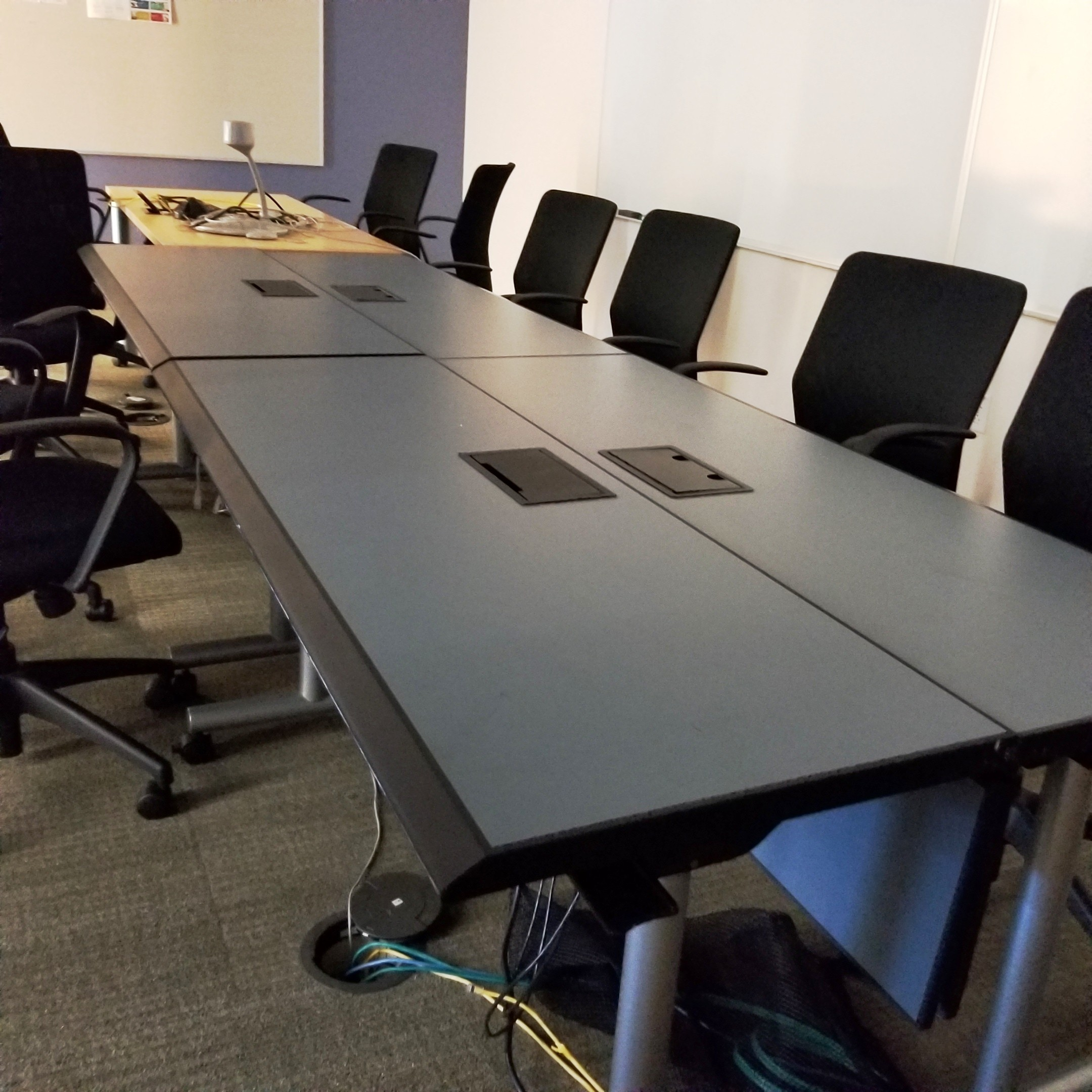 Grey Conference Table with Electronics