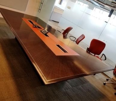 Mahogoney Conference Table with Video Conference Capability