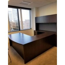 "OFS - Bow Front ""U"" Shaped Desk with Overhead Storage"