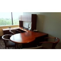 Contemporary U-shaped desks with hutch