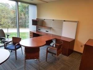 Contemporary P Shaped Desk with Shelving Back-Splash